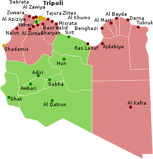 Karte zum Aufstand in Libyen