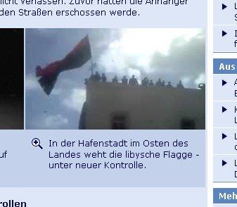 Libysche Flagge Tagesschau Screenshot vom 22.02.2011