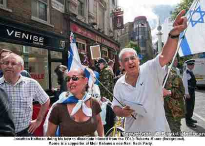 EDL's Roberta Moore (next to her: Jonathan Hoffman from the Zionist Federation)