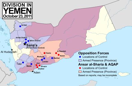 Lage in Jemen am 23.10.2011 - Quelle Wikipedia
