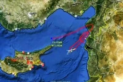 Darstellung der Flugbahn des abgeschossenen Flugobjektes durch SANA - 23.06.2012