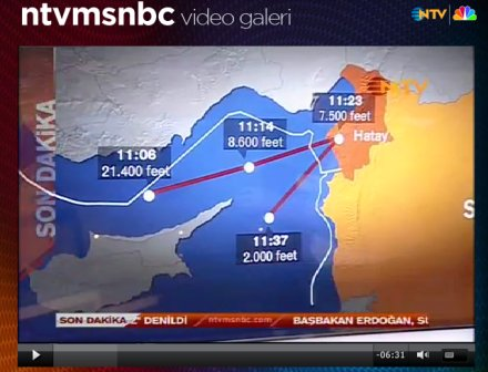 Erster Screenshot von NTVMSNBC zum F4-Phantom-Zwischenfall vom 22.06.2012